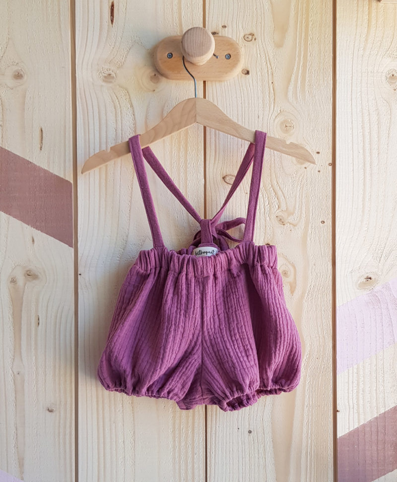 bloomer bretelles bebe vetement fille rose gaze coton violet neoud lyon mode enfant