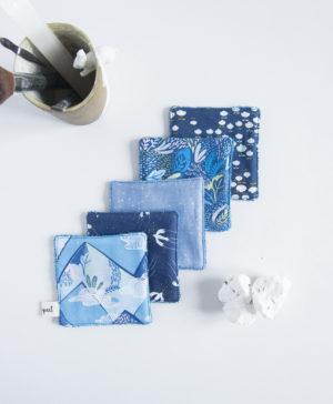 mode bebe, cotons lavables, lingettes lavables, bleu, made in france, fait main, jeune maman, zero dechet, ecologique