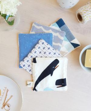 cotons lavables coton lingette bleu baleine narval cachalot