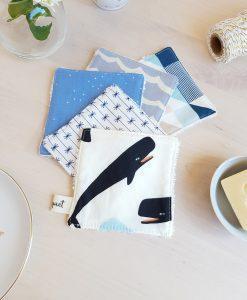 cotons lavables, coton, baleine, lingette lavable, liste naissance, cadeau naissance, cadeau bebe, naissance garcon, bilbqouet