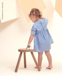 robe bebe, bebe fille, mode bebe, cotons lavables, lingettes lavables, bleu, made in france, fait main, jeune maman, zero dechet, ecologique
