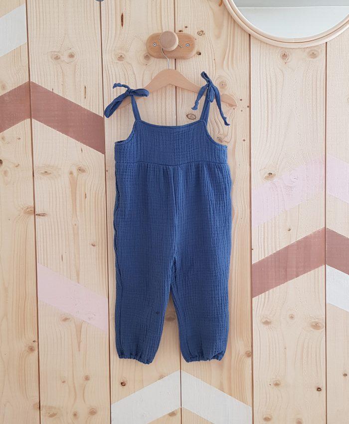 combinaison salopette vetement bebe fille lyon double gaze coton bleu barboteuse jambes longues