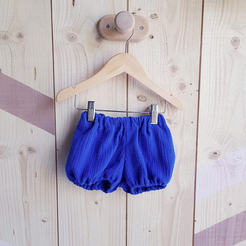 bloomer bebe vetement fille bleu short double gaze coton mode enfant
