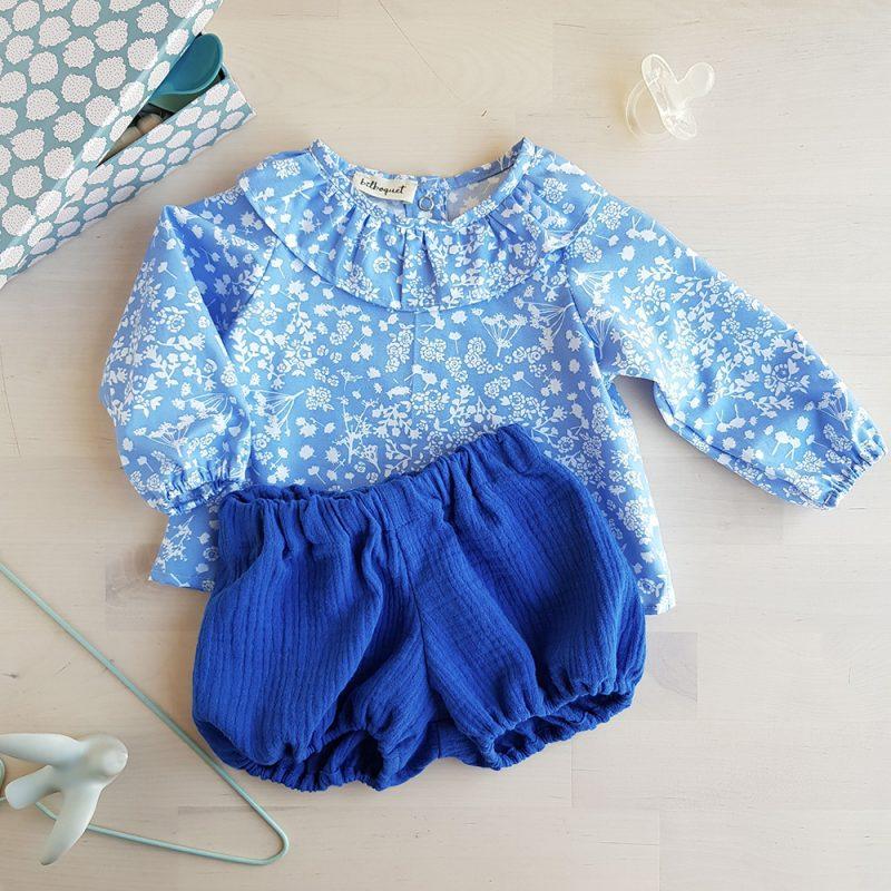 ensemble bebe fille bleu fleur col claudine manches longues vetement cadeau original