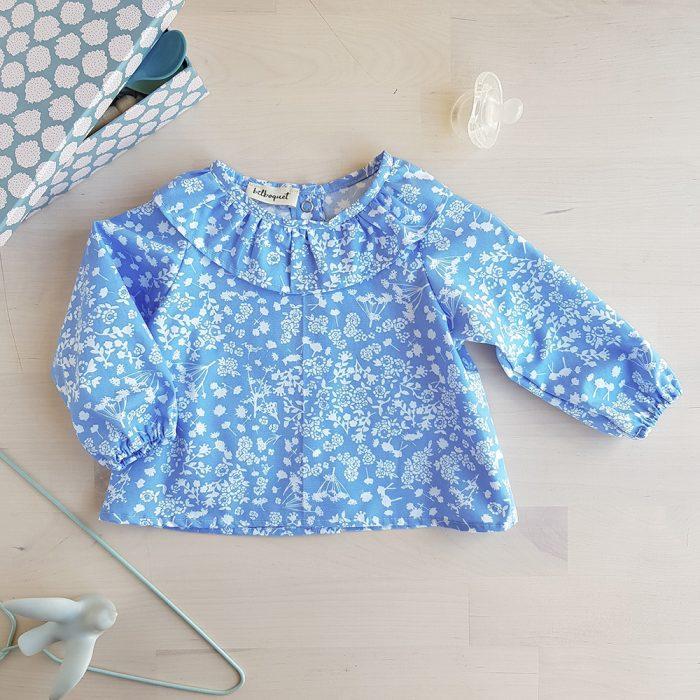 blouse bebe fille bleu vetement fleur lyon col fronce pierrot