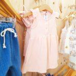 robe rose, robe bebe, bilboquet, mode enfant francaise, made in france, double gaze rose, association les petites tricolores