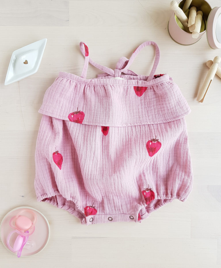 barboteuse bebe fraise robe gaze coton vetement salopette ete bloomer robe fille lyon