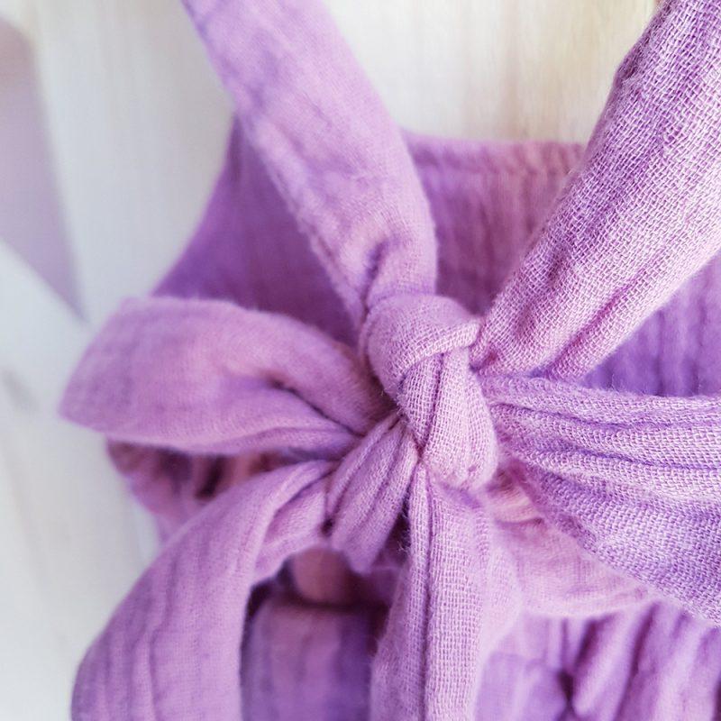 combinaison bebe fille ete jambe longue rose violet double gaze made france lyon