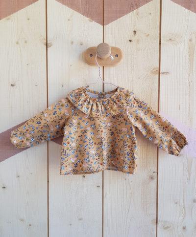 blouse bebe fille camel oiseau vetement lyon col claudine vintage bebe bilboquet
