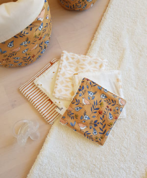 coton lavables cotons lingettes camel oiseau cadeau naissance pas cher francaise fabrication