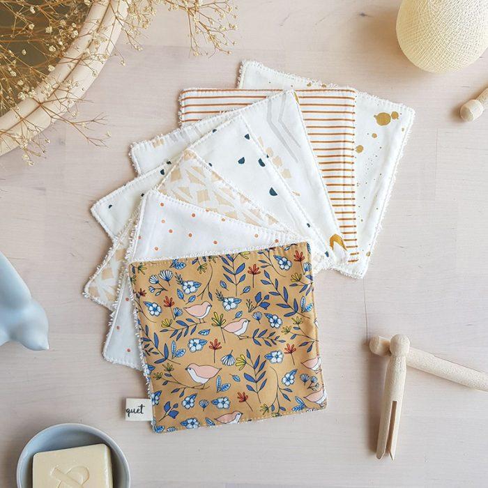 lingette lavable coton eponge beige ocre bebe reutilisable ecologique zero dechet famille lyon