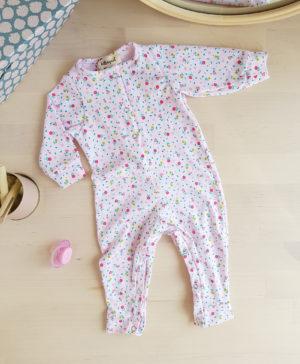 pyjama noel bebe fille rose fleur mode paris france createur naissance cadeau