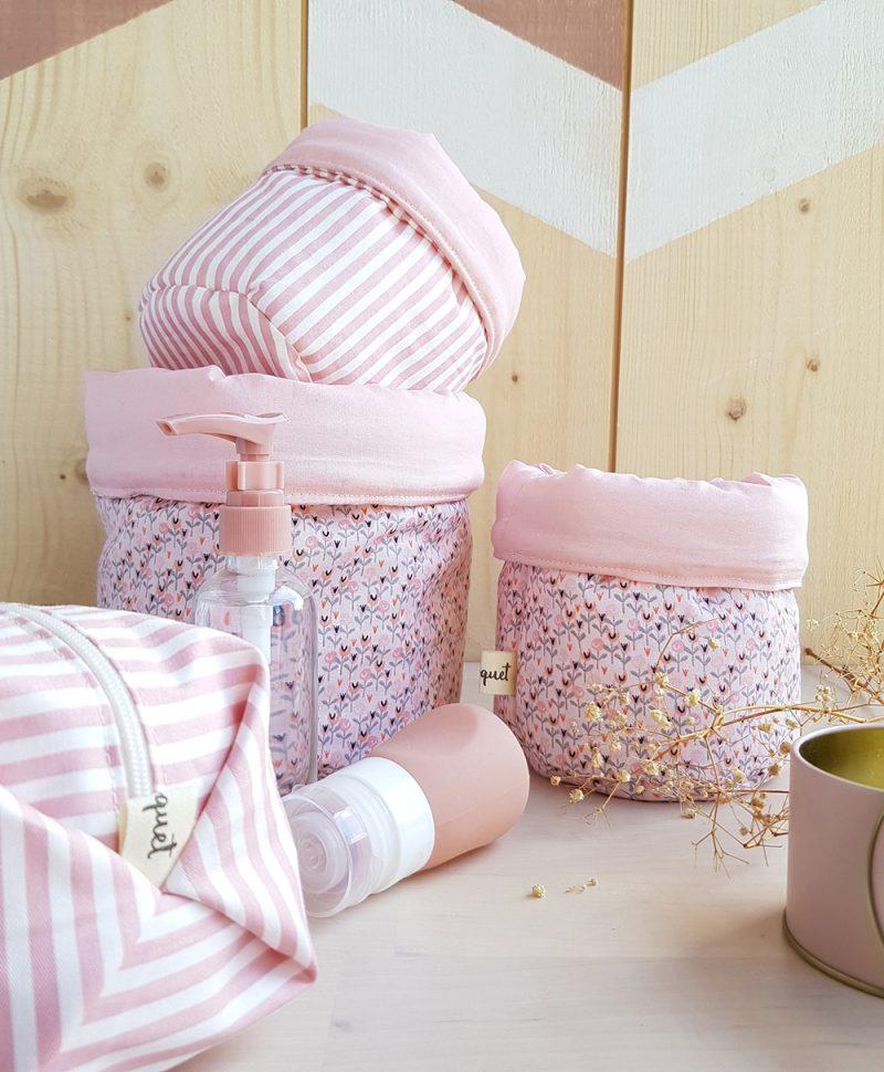 panier rangement rose fleur cadeau naissance liste bebe fille
