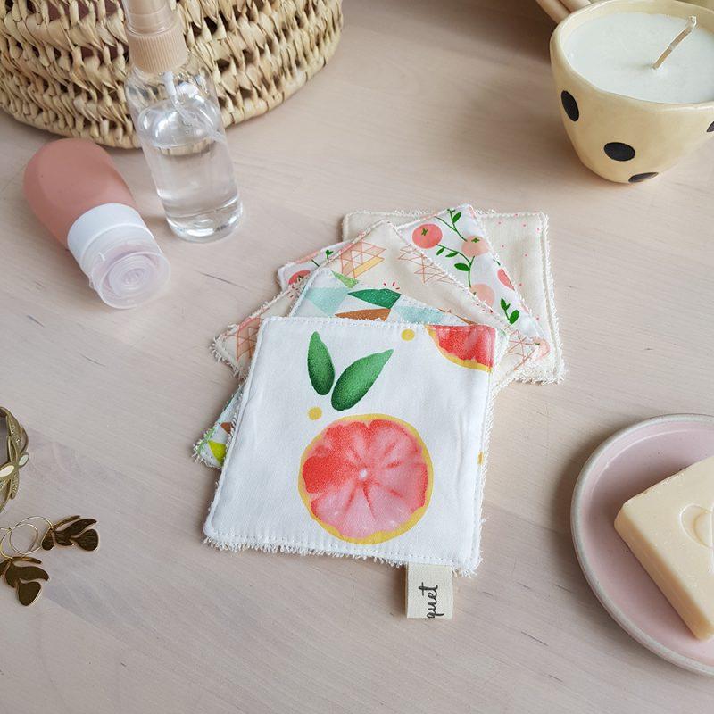 coton lavable lingette demaquillante grand carre rose orange francais createur lyon bilboquet