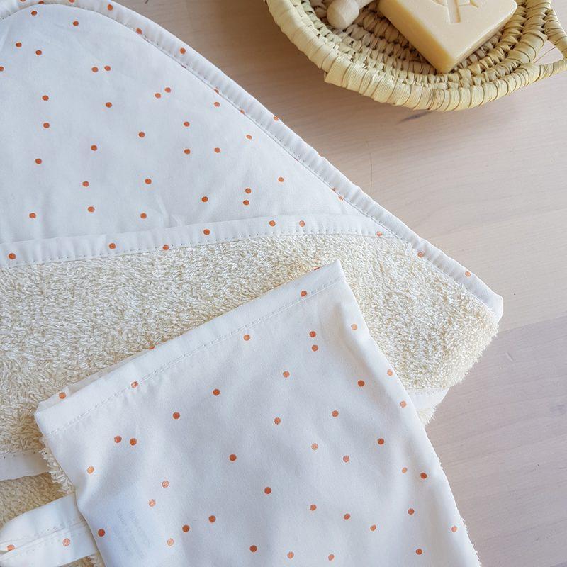 cape bain sortie serviette gant bebe createur pois blanc lyon