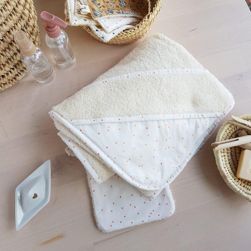 cape bain bebe blanc pois cuivre bapteme lyon naissance liste bilboquet