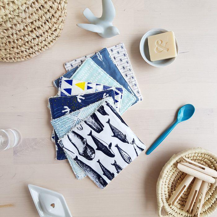 cachalot baleine narval cotons lavable carre disque demaquillant motif enfant bleu garcon naissance