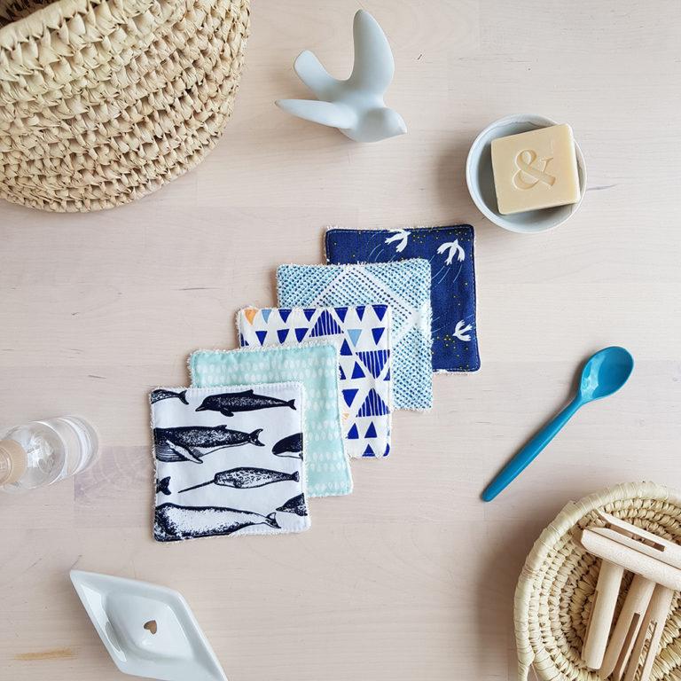 coton lavable createur motif animaux mer marin bleu bilboquet francais