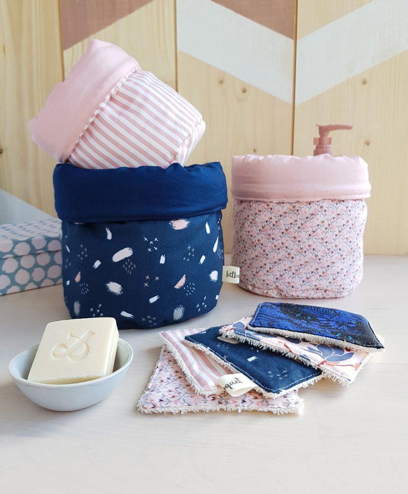 panier paniere rangement tissu cadeau naissance bleu femme maman