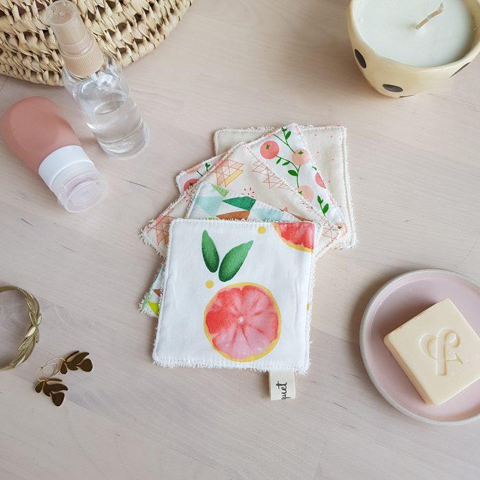 lingette lavable pamplemousse coton eponge cadeau createur femme enfant lyon bilboquet