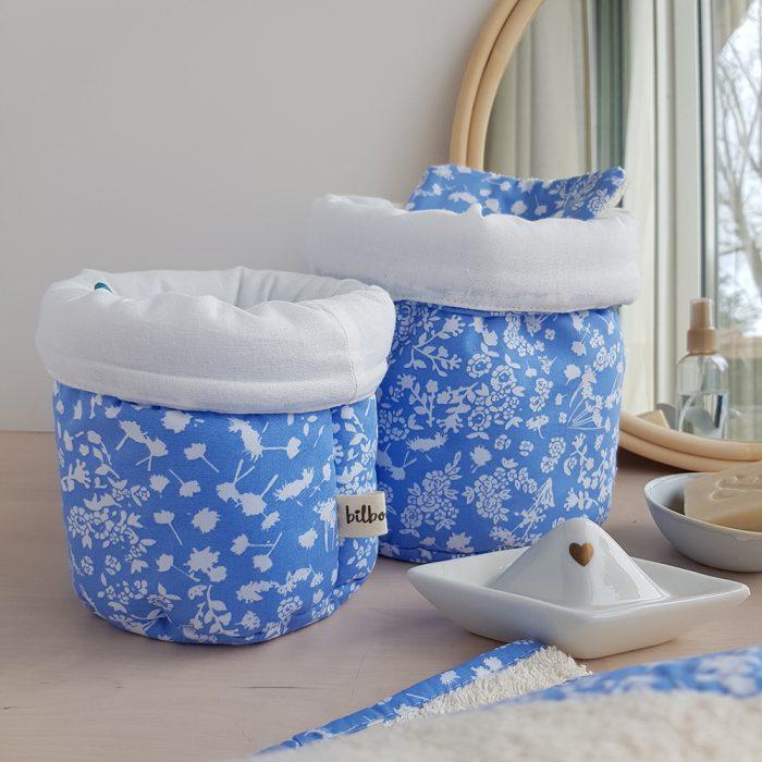 panier tissu bleu fleur liberty cadeau naissance bebe fille