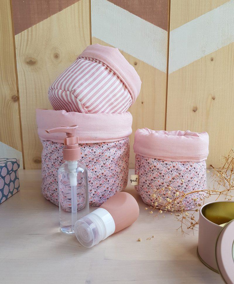 paniere coton rose cadeau naissance bebe fille lyon france fleur rayure