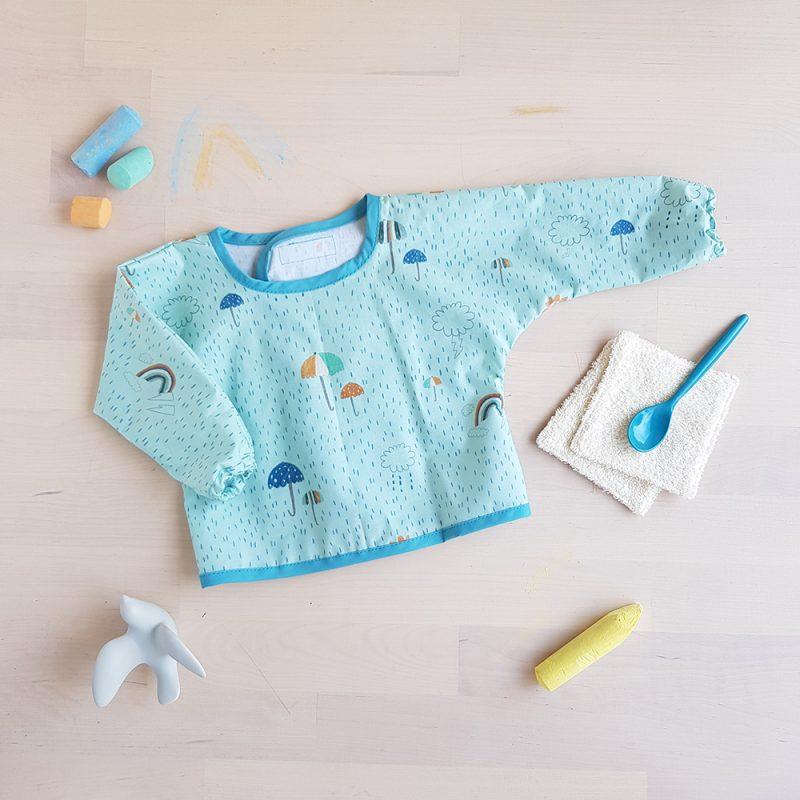 tablier ecole blouse fille garcon manche longue peinture pate a modeler maison vetement oekotex plastique maternelle bleu