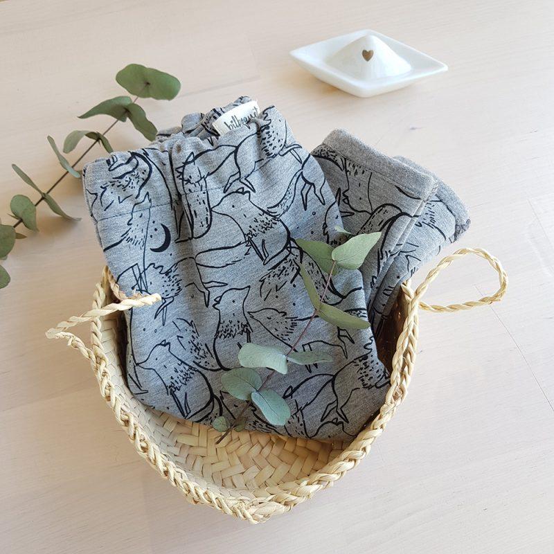 pantalon bebe vetement sarouel gris loup motif coton jersey oekotex bio france francaise fabrication made
