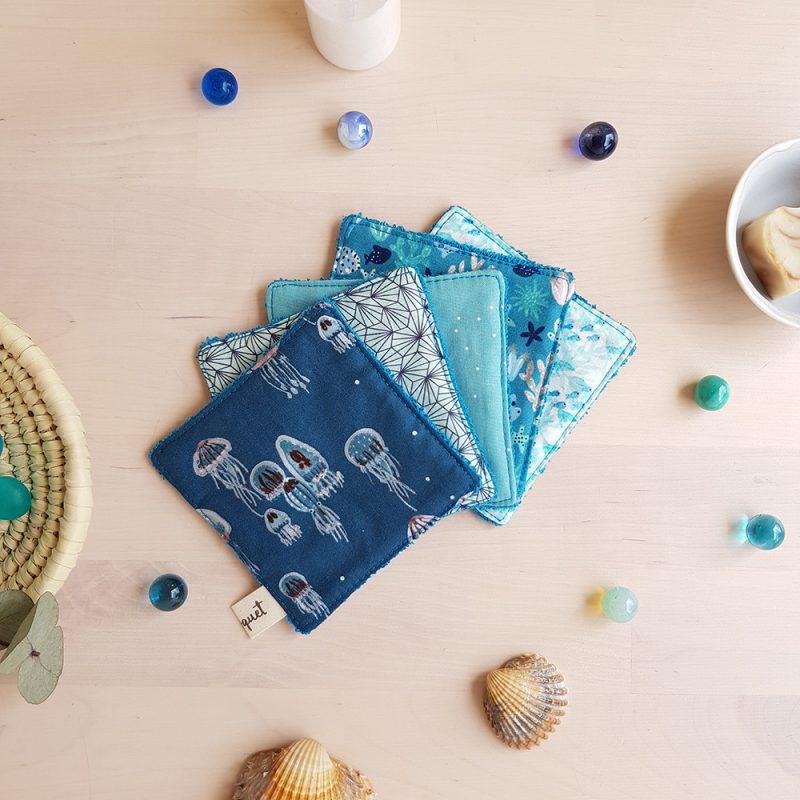 lingette bleu fonce carre demaquillant eponge coton bleu lyon