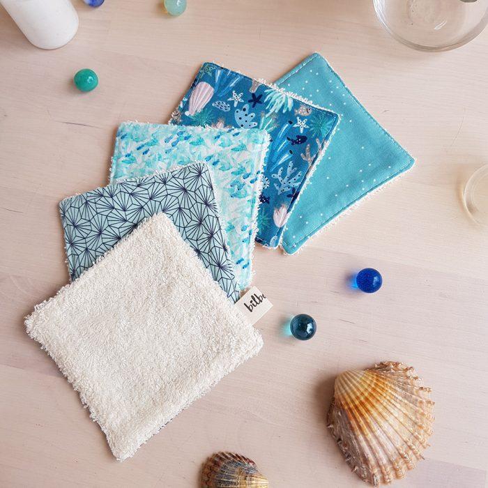lingettes lavable coton reutilisable eponge carre bleu cadeau naissance bebe garcon france createur lyon