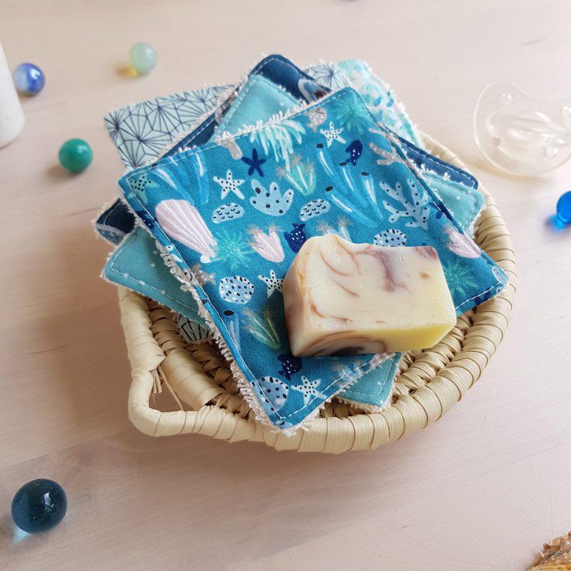 lingette lavable coton bleu mer marin cadeau niassance garcon bleu demaquillante zero dechet