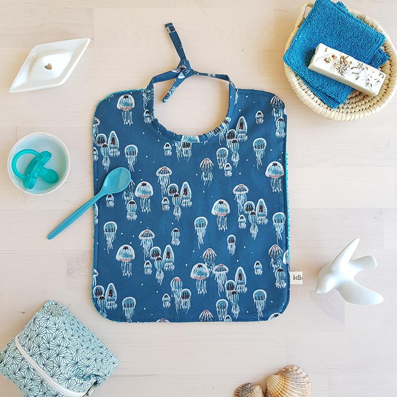 bavoir bebe repas cadeau naissance 1 an garcon bleu absorbant made in france createur lyon