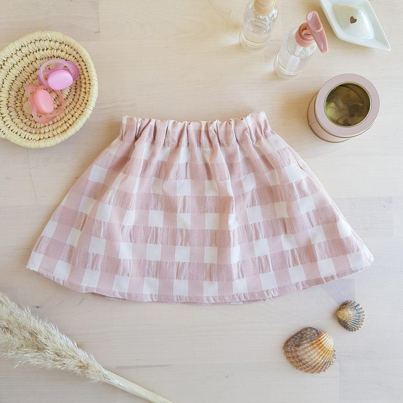 jupe courte jupette cadeau anniversaire vetement enfant fille rose carreaux nude bilboquet double gaze