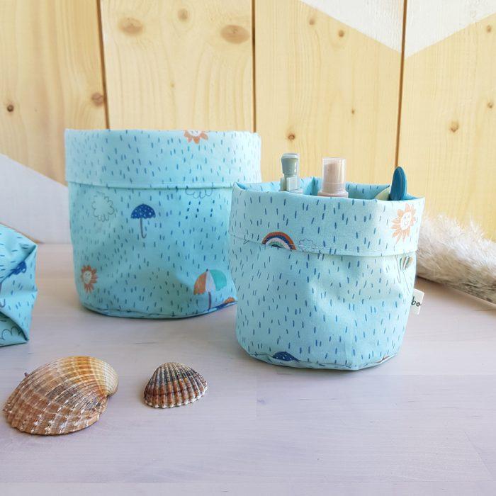 panier paniere rangement tissu impermeable coton enduit cadeau naissance garcon bleu table langer