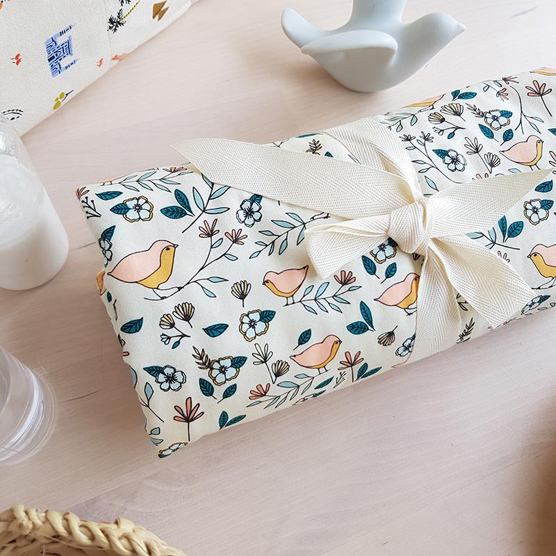 tapis langer serviette change cadeau naissance bebe fille cadeau lyon oiseau eponge beige original box coffret