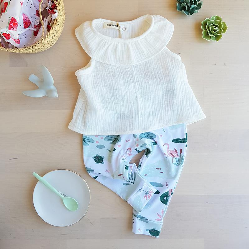 ensemble bebe fille cadeau made in france petite marque vetement pantalon top haut blouse sans manche ete col claudine double gaze oekotex blanc tenue bilboquet kids