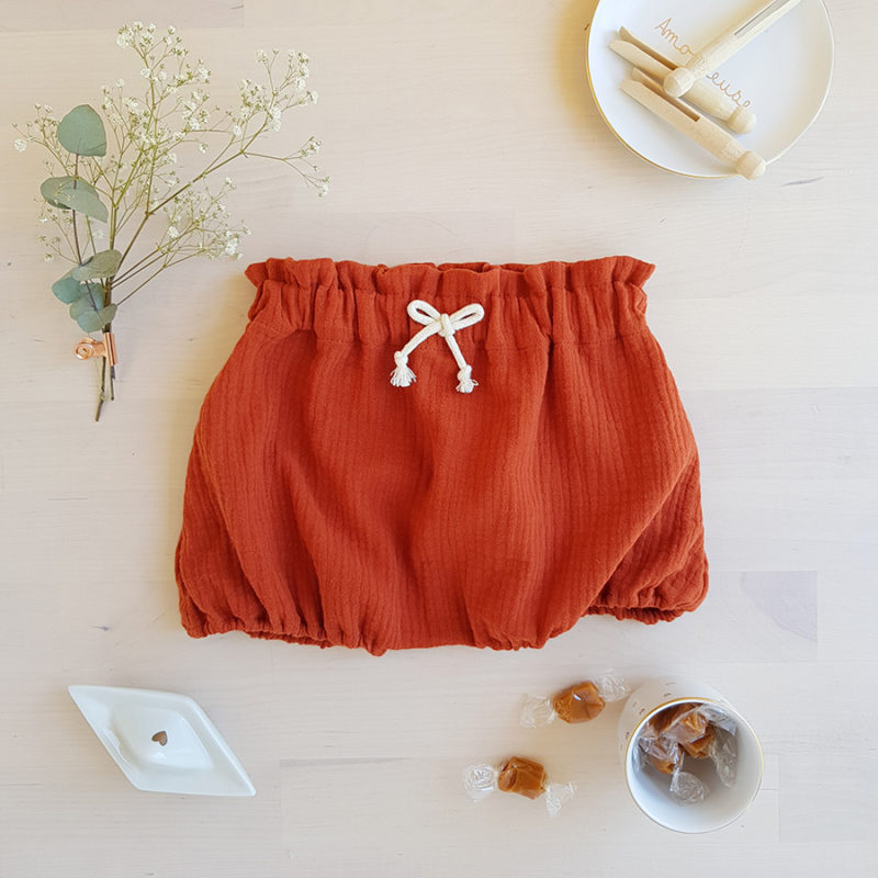 bloomer short culotte bas pantalon bebe fille unisexe rouge orange rouille double gaze coton oekotex made in france fabrication francaise lyon bilboquet