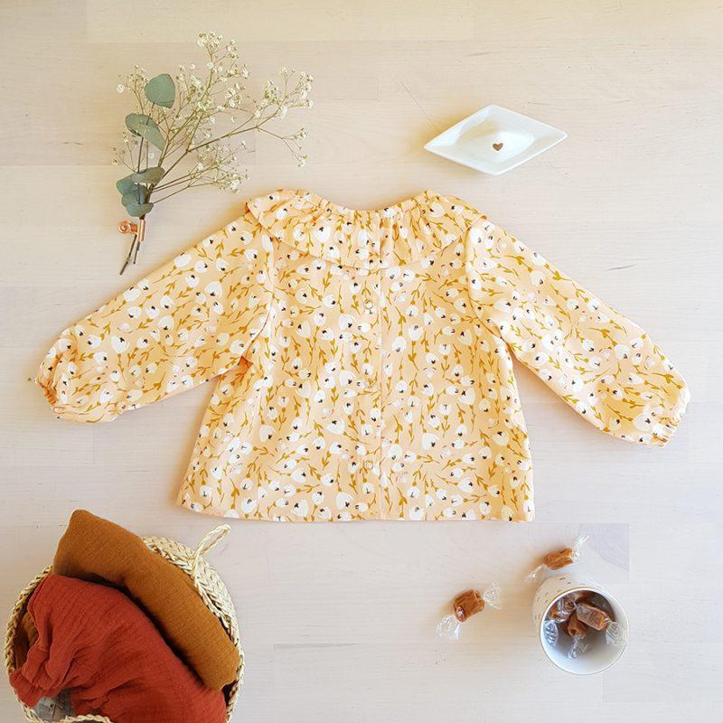 blouse chemisier bebe fille col volant fronce claudine vetement mode enfant fleur motif oekotex made in france bilboquet createur