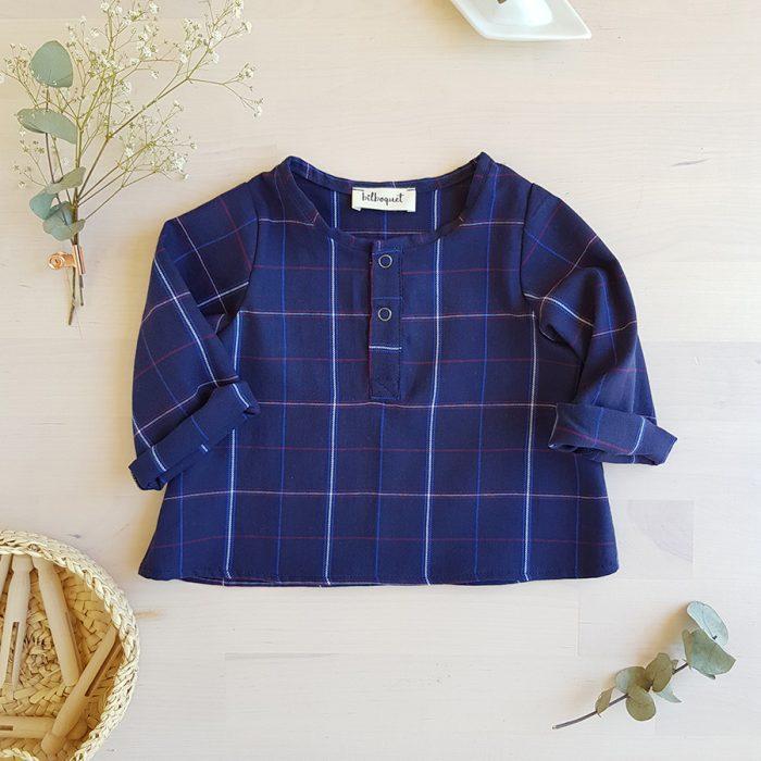 vetement chemise bebe garcon tartan ecossais bleu carreaux vetement cadeau naissance tunisien mode enfant made in france fabrication francaise couture lyon bilboquet kids