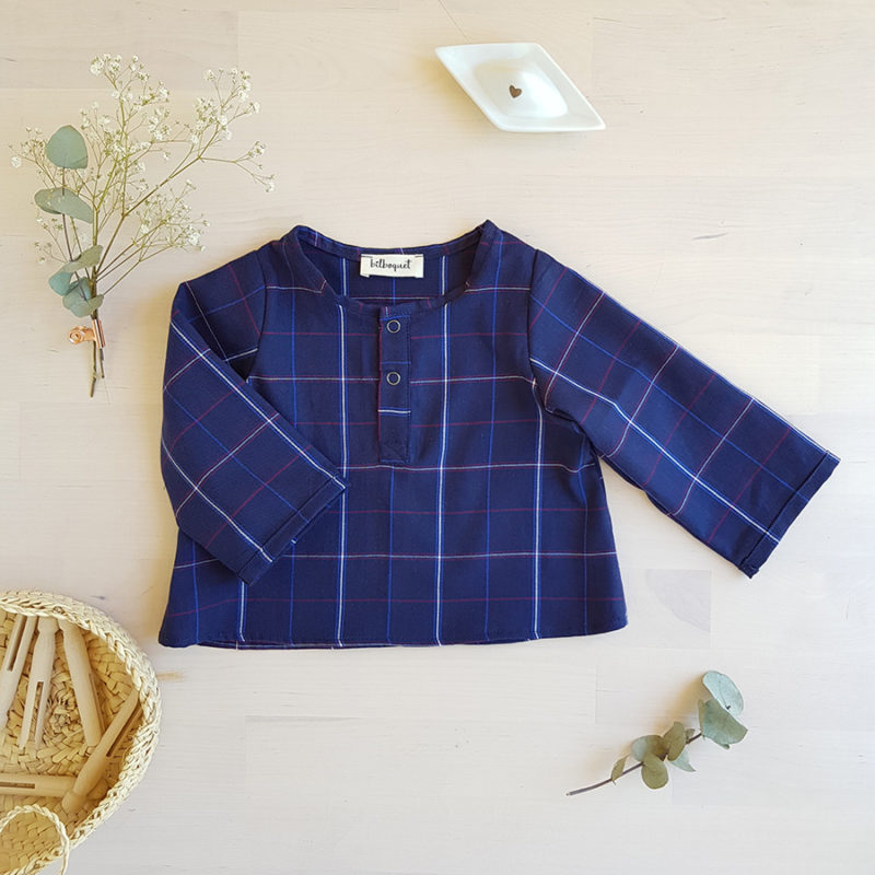 chemise blouse haut bebe garcon enfant bleu marine cadeau rayure marin vareuse lyon naissance vetement createur france bilboquet kids