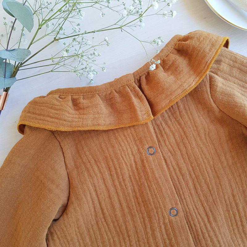 blouse manche longue camel bebe fille enfant mode createur lyon oekotex camel marron bilboquet