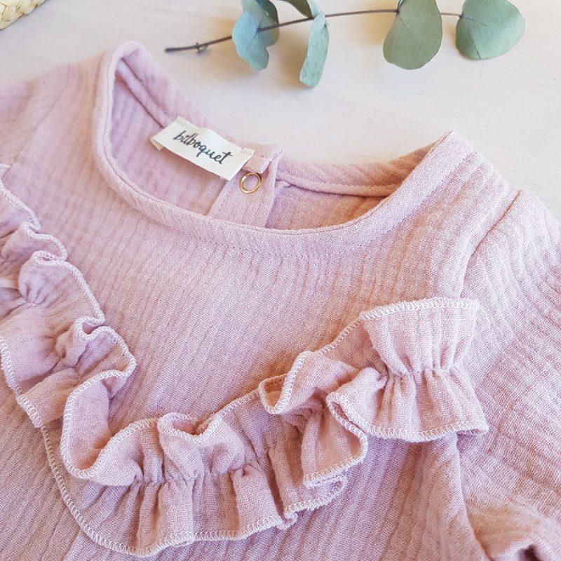blouse bebe fille vetement double gaze rose enfant volant manche longue cadeau made in france createur mode enfantine lyon bilboquet