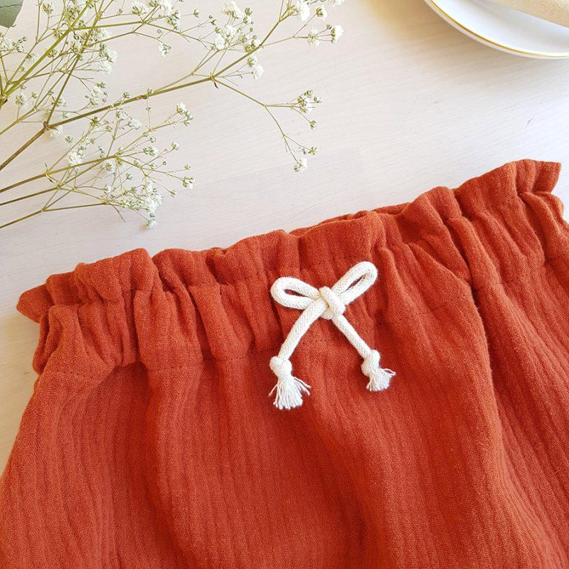 bloomer bebe rouge rouille double gaze coton oekotex short vetement