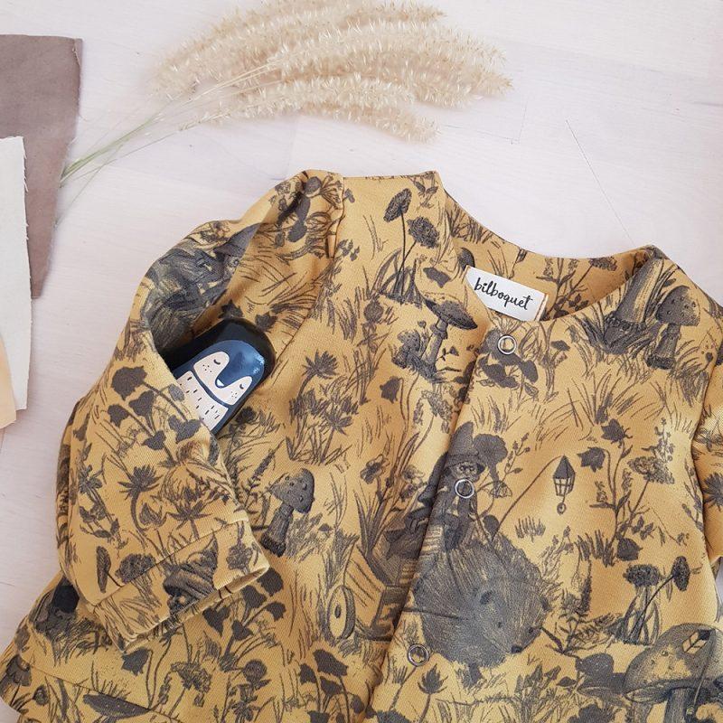 vetement bebe enfant garcon fille petite cadeau naissance made in france fabrication francaise lyon createur mode enfantine bilboquet double gaze coton pull veste sweat bouton pression champignon
