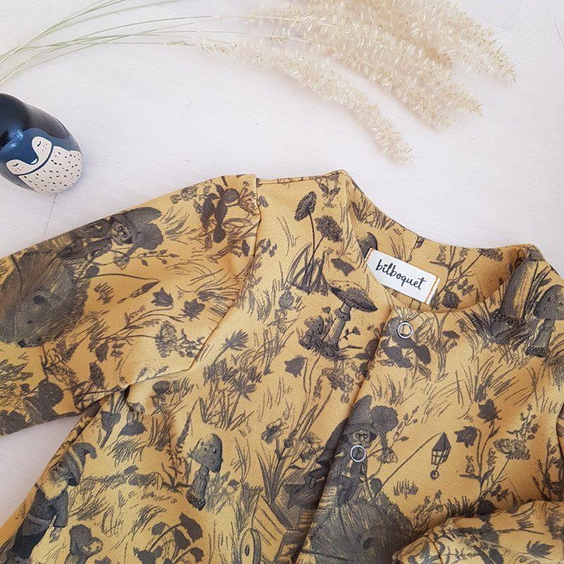 vetement bebe mode enfant blouse robe pantalon haut bas boutique lyon createur fabrication francaise petite marque fille garcon veste sweat pull jaune motif rigolo bilboquet france