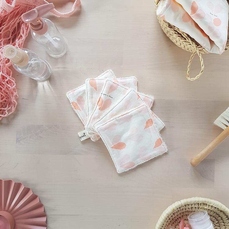 lingettes lavables coton petit coeur rose cadeau saint valentin ecolo pas cher made in france createur lyon bilboquet rose
