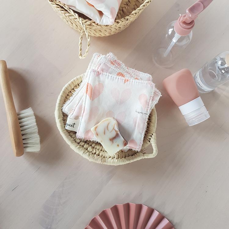 lingettes lavables coton petit coeur rose cadeau saint valentin ecolo pas cher made in france createur lyon bilboquet