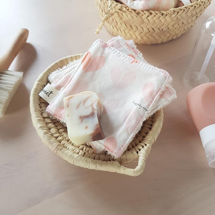 lingettes lavables coton petit coeur rose cadeau saint valentin ecolo pas cher made in france createur lyon bilboquet rose corail