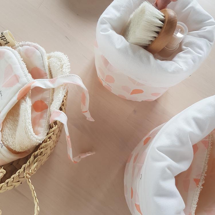 panier paniere rangement rose table langer cadeau naissance rose liste fille oekotex createur lyon made in france bilboquet kids