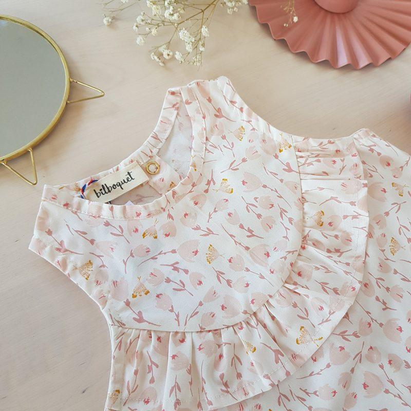 vetement bebe enfant robe rose blanc fleur mode lyon createur volant fabrication francaise made in france bebe fille liberty vintage